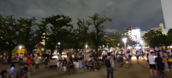ポケモンGO夜の錦糸公園の様子