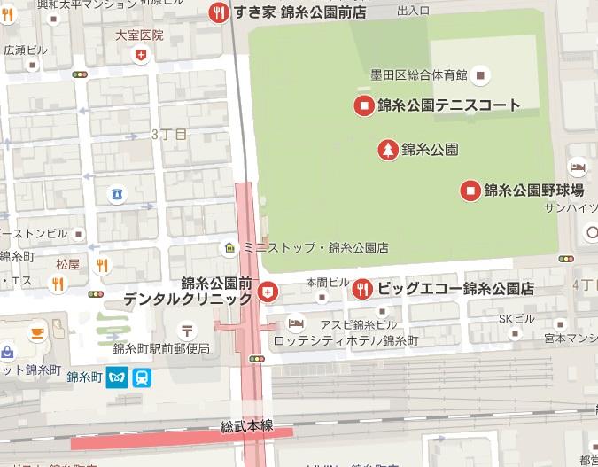 錦糸公園への地図